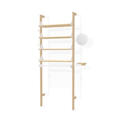 Branch-1 Display Unit Blonde Uprights White Brackets Blonde Shelves