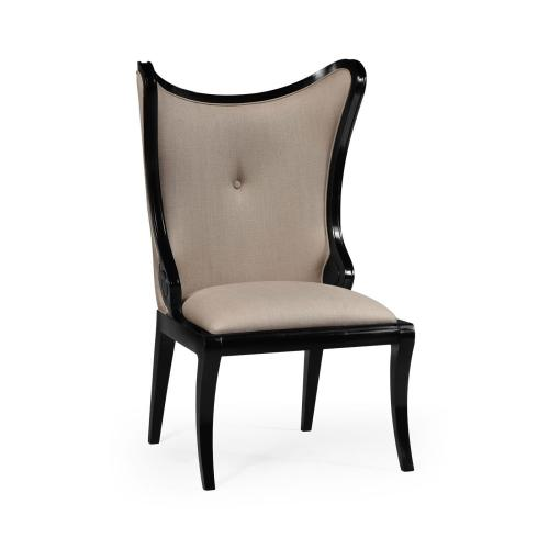"""Black Painted """"Butterfly"""" Upholstered Side Chair"""