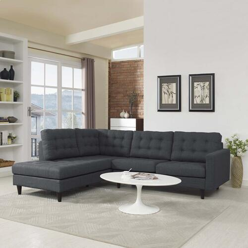 Empress 2 Piece Upholstered Fabric Left Facing Bumper Sectional in Gray