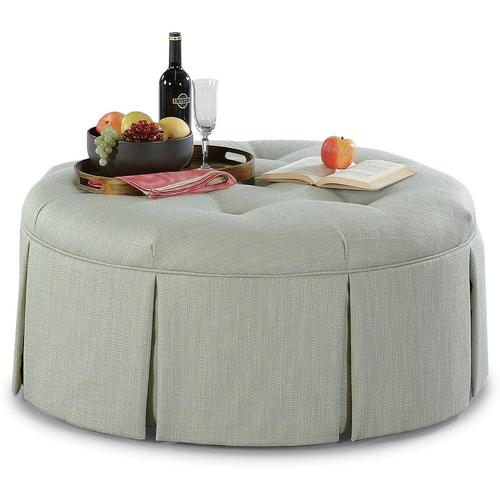"""Downing 32"""" Round Cocktail Ottoman with Casters"""