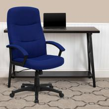 See Details - High Back Navy Blue Fabric Executive Swivel Office Chair with Two Line Horizontal Stitch Back and Arms
