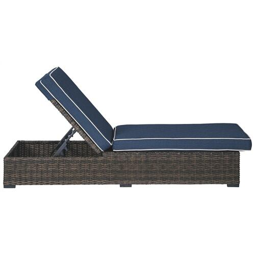 Grasson Lane Chaise Lounge with Cushion Brown/Blue