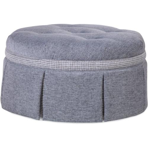 "Downing 32"" Round Cocktail Ottoman with Contrast Band and Casters"