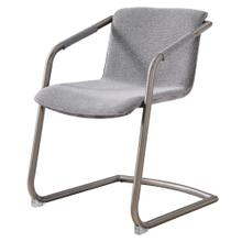 Indy Fabric Side Arm Chair Silver Frame, Sage Gray/Velvet Gray