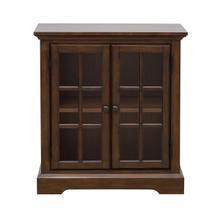 Two Door Windowpane Accent Chest in Heritage Brown
