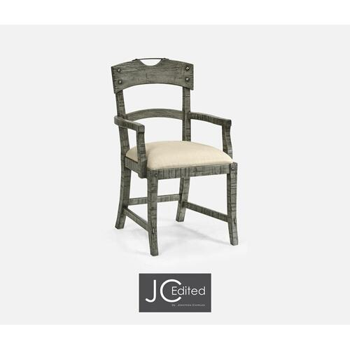 Planked Antique Dark Grey Arm Chair, Upholstered in MAZO