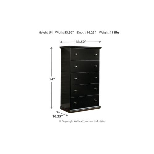 Maribel Five Drawer Chest Black