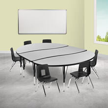 """86"""" Oval Wave Collaborative Laminate Activity Table Set with 12"""" Student Stack Chairs, Grey\/Black"""