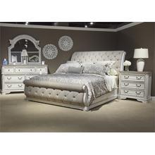 King Uph Sleigh Bed, Dresser & Mirror