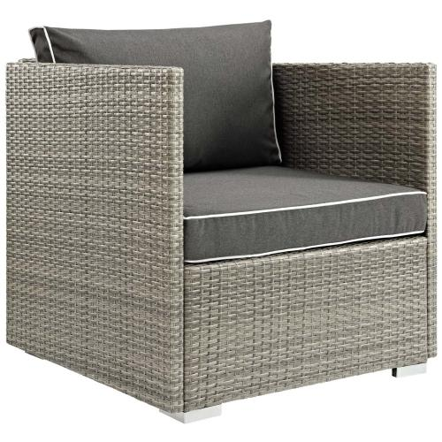 Repose 3 Piece Outdoor Patio Sectional Set in Light Gray Charcoal