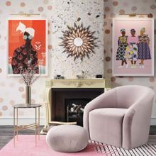 View Product - Boboli Mauve Velvet Chair + Ottoman Set