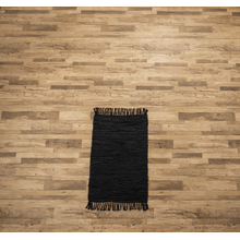 See Details - Black Leather Chindi 2x3 Rug (Each One Will Vary)