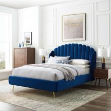 Lana Queen Performance Velvet Wingback Platform Bed in Navy