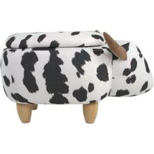 Critter Sitters 15-In. Seat Height Black-White Cow Animal Shape Storage Ottoman - Furniture for Nursery, Bedroom, Playroom, Living Room Decor, CSCOWSTOTT-BLKWHT