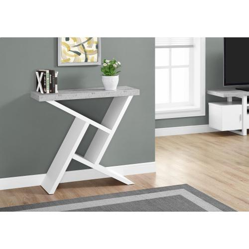 "ACCENT TABLE - 36""L / WHITE / CEMENT-LOOK HALL CONSOLE"