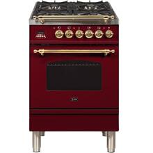 Nostalgie 24 Inch Dual Fuel Liquid Propane Freestanding Range in Burgundy with Brass Trim