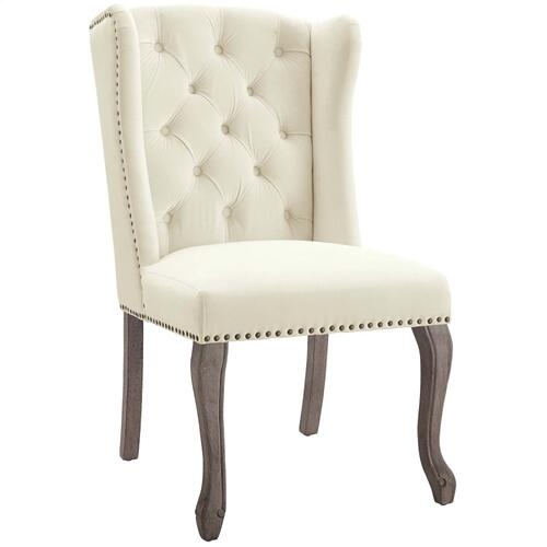 Apprise French Vintage Dining Performance Velvet Side Chair in Ivory