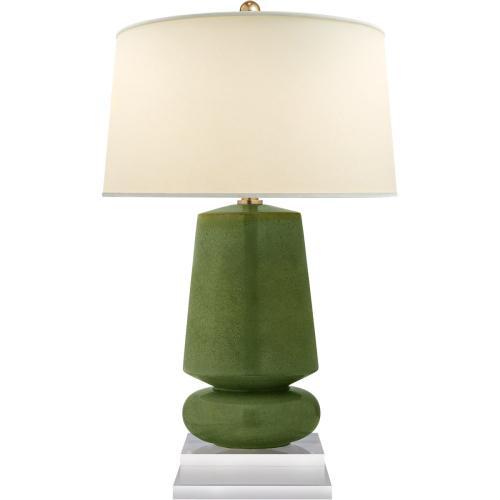 Visual Comfort CHA8668SHK-PL E. F. Chapman Parisienne 29 inch 150 watt Shellish Kiwi Table Lamp Portable Light, E.F. Chapman, Small, Natural Percale Shade