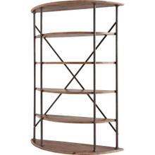 Laccamma 18L x 58W x 82H Medium Brown Wood Black Metal Bracing Four Shelf Shelving Unit
