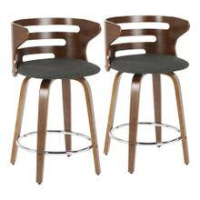 Cosini Counter Stool - Set Of 2 - Walnut Wood, Charcoal Fabric, Chrome