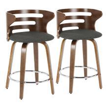 See Details - Cosini Counter Stool - Set Of 2 - Walnut Wood, Charcoal Fabric, Chrome