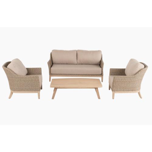 Gracelyn Acacia FSC KD Deep Seating Sofa w/ Sunbrella cushion