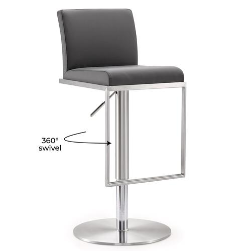 Tov Furniture - Amalfi Grey Stainless Steel Barstool