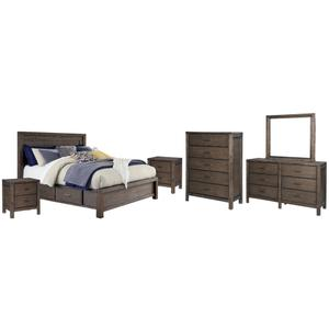 California King Panel Bed With 4 Storage Drawers With Mirrored Dresser, Chest and 2 Nightstands
