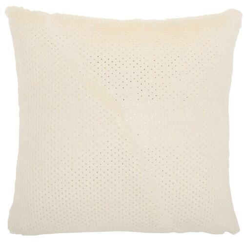 "Fur Vv021 Ivory 1'10"" X 1'10"" Throw Pillow"