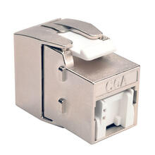 See Details - Toolless Shielded Cat6a Keystone Jack, PoE/PoE+ Compliant, Shuttered - Silver, TAA