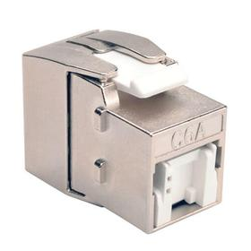 Toolless Shielded Cat6a Keystone Jack, PoE/PoE+ Compliant, Shuttered - Silver, TAA