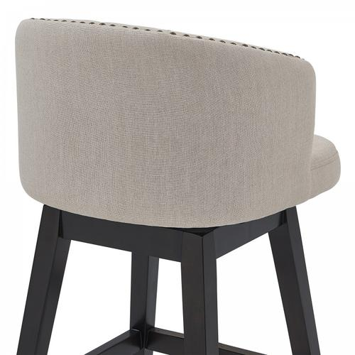"""Armen Living Celine 26"""" Counter Height Barstool in Espresso Finish and Tan Fabric"""