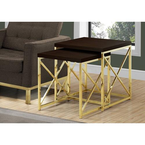 NESTING TABLE - 2PCS SET / ESPRESSO / GOLD METAL