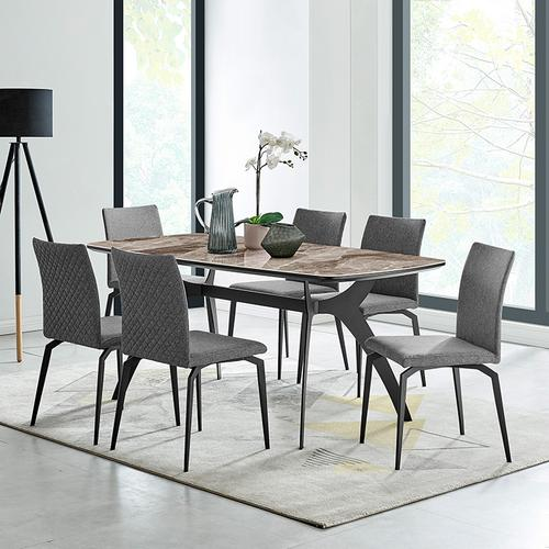 Andes and Lyon Gray Fabric 7 Piece Rectangular Dining Set