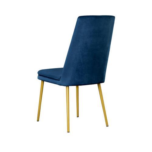 Modern Upholstered Dining Chair in Blue Velvet (2pc)