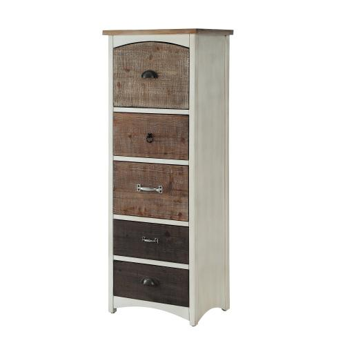 5-drawer Chest, Neutral White and Driftwood Tones