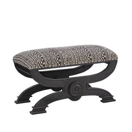 Aztec Upholstery Fabric Ottoman, Black