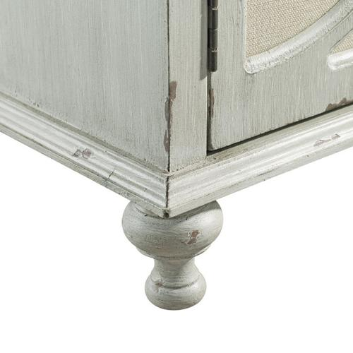 Accentrics Home - Wood and Fabric Two Door Accent Chest in Weathered Gray
