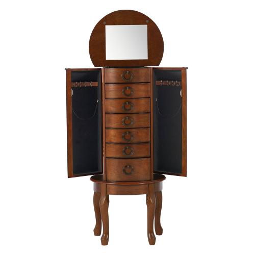 6-drawer and 2 Side Storage Jewelry Armoire, Woodland Cherry