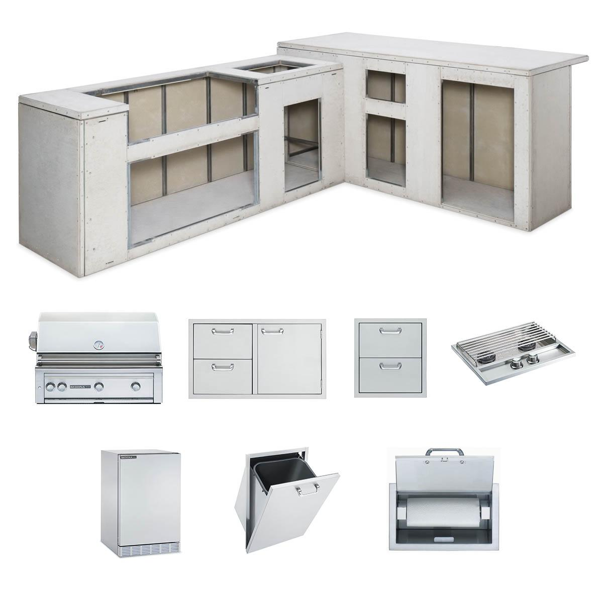 """LynxRtf Island Package Includes: L600 Grill, 36"""" Access Doors, Double Side Burner, Refrigerator, Paper Towel Dispenser, Trash Center, Double Drawers"""