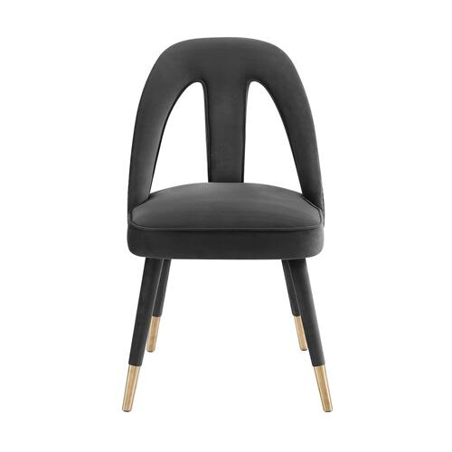 Tov Furniture - Petra Dark Grey Velvet Side Chair