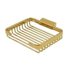 "Wire Basket, 6"" Rectangular Soap Holder - PVD Polished Brass"