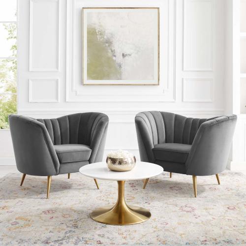 Opportunity Performance Velvet Armchair Set of 2 in Gray