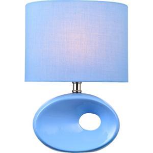 Table Lamp, Blue Ceramic Body/blue Fabric Shade,e27 Cfl 13w