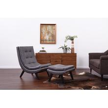 Tustin Lounge Chair and Ottoman Set With Pewter Fuax Leather Fabric & Black Legs