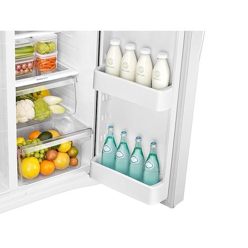 Samsung - 25 cu. ft. Side-by-Side Refrigerator with LED Lighting in White
