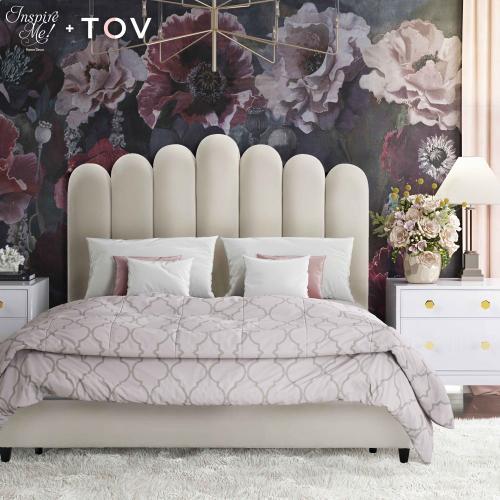 Celine Cream Velvet Bed in King by Inspire Me! Home Decor