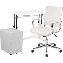 3 Piece Office Set - White Adjustable Computer Desk, LeatherSoft Office Chair and Side Handle Locking Mobile Filing Cabinet