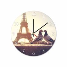 Birds In Paris Round Acrylic Wall Clock