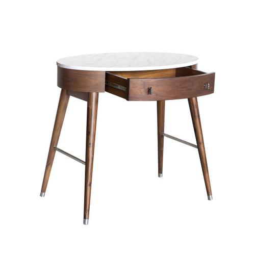 Mid-Century Oval Desk in Brown